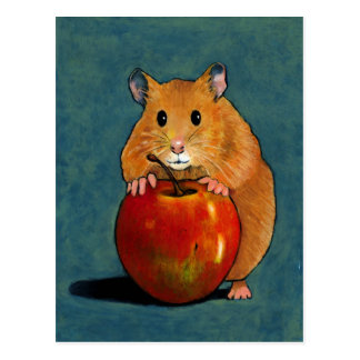 HAMSTER WITH APPLE: PASTEL ART POSTCARD