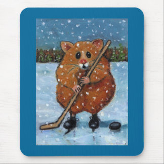 HAMSTER WITH HOCKEY STICK: ART MOUSE MAT