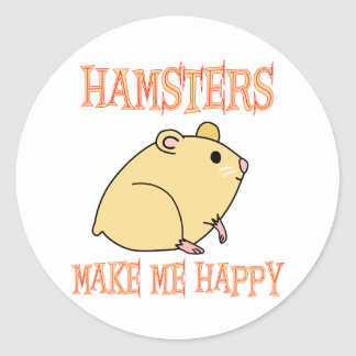 Hamsters Make Me Happy Classic Round Sticker