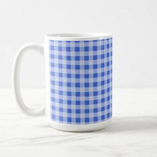 Han Blue Gingham Checkered Coffee Mugs