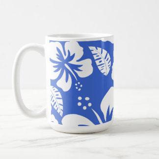 Han Blue Hawaiian Tropical Hibiscus Basic White Mug