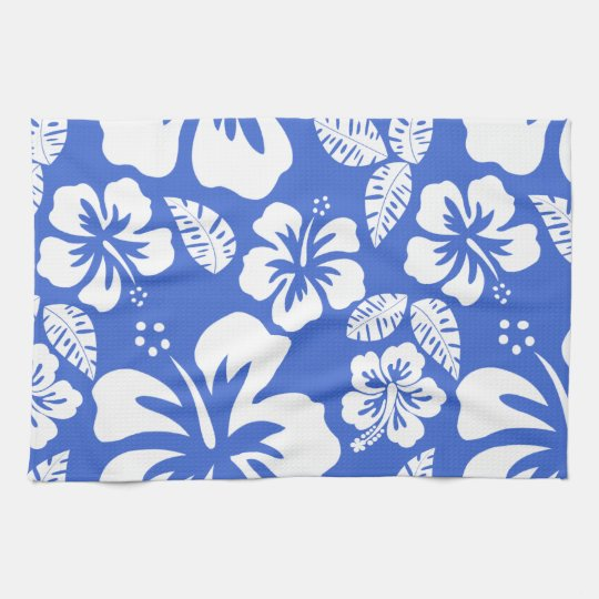 Han Blue Hawaiian Tropical Hibiscus Tea Towel