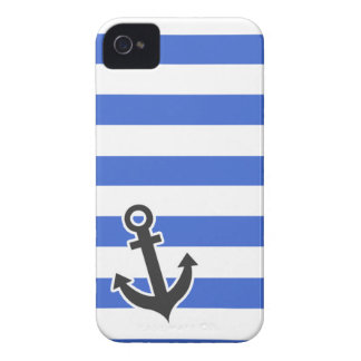 Han Blue Horizontal Stripes; Nautical Anchor Case-Mate iPhone 4 Cases