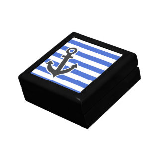 Han Blue Horizontal Stripes; Nautical Anchor Gift Box