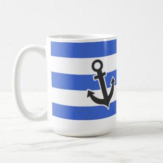 Han Blue Horizontal Stripes Nautical Anchor Mugs
