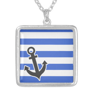 Han Blue Horizontal Stripes; Nautical Anchor Silver Plated Necklace