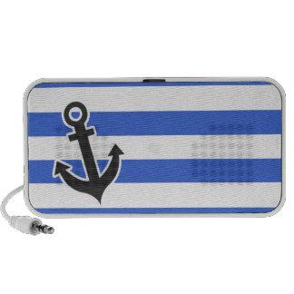 Han Blue Horizontal Stripes; Nautical Anchor Travelling Speakers