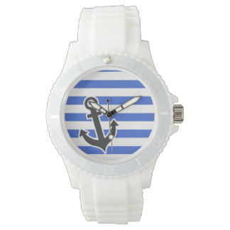 Han Blue Horizontal Stripes; Nautical Anchor Watch