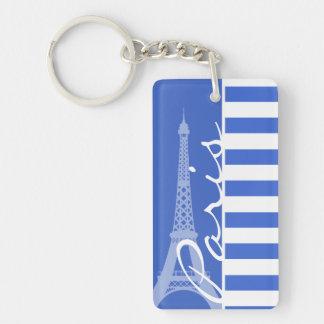 Han Blue Horizontal Stripes; Paris Double-Sided Rectangular Acrylic Key Ring