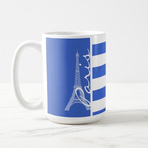 Han Blue Horizontal Stripes; Paris Mug