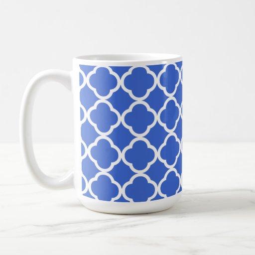 Han Blue Moroccan Quatrefoil Coffee Mugs
