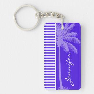 Han Purple Horizontal Stripes; Palm tree Double-Sided Rectangular Acrylic Key Ring