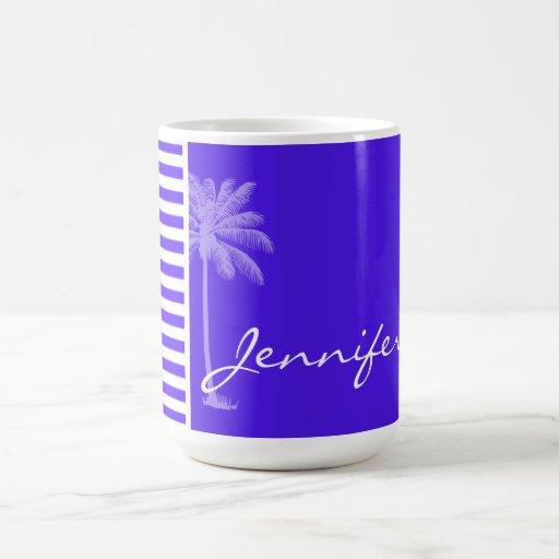 Han Purple Horizontal Stripes; Palm tree Mug