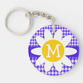 Han Purple Houndstooth; Daisy Double-Sided Round Acrylic Key Ring
