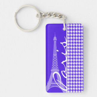Han Purple Houndstooth; Paris Double-Sided Rectangular Acrylic Key Ring