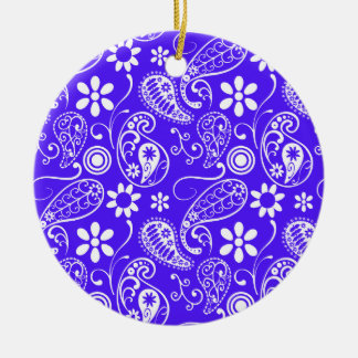 Han Purple Paisley; Floral Double-Sided Ceramic Round Christmas Ornament