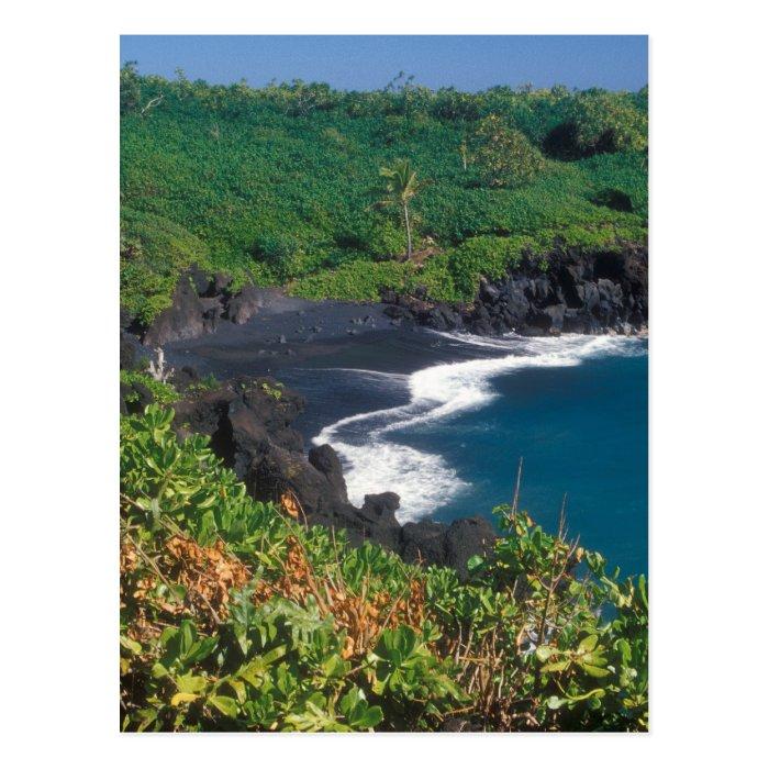 Hana Black Sand Beach Maui Hawaii Postcard