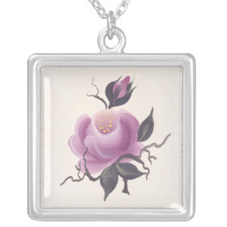 Hanad Painted Pink Rose Square Pendant Necklace