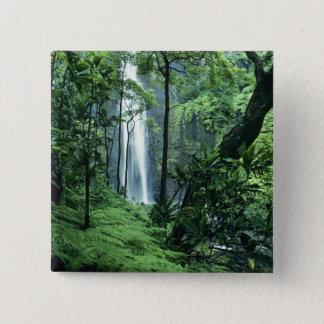 Hanakapiai Falls along the Na Pali Coast, Kauai, 15 Cm Square Badge