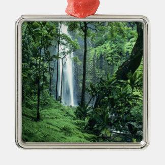 Hanakapiai Falls along the Na Pali Coast, Kauai, Silver-Colored Square Decoration