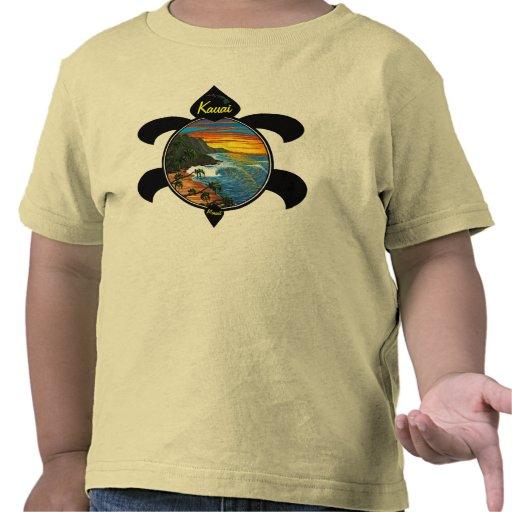 """Hanakapiai""-Na Pali Sunset/Turtle Design Tshirt"