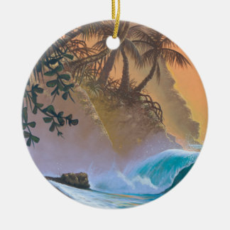 Hanalei Bay Beach Surf Christmas Ornament