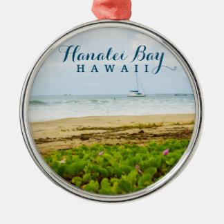 Hanalei Bay Kauai Hawaii Beach & Boats Christmas Ornament