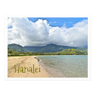 HANALEI BEACH WITH DRAMATIC CLOUD OVER MOUNTAINS POSTCARD
