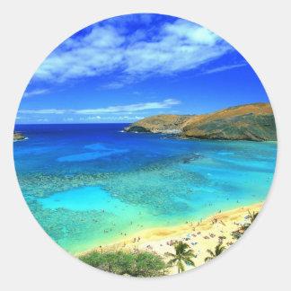 Hanauma Bay Beach Aloha! Round Sticker