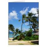 Hanauma Bay Hawaii Coconut Trees Greeting Card