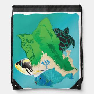 Hanauma Bay Hawaii Turtle Drawstring Bags