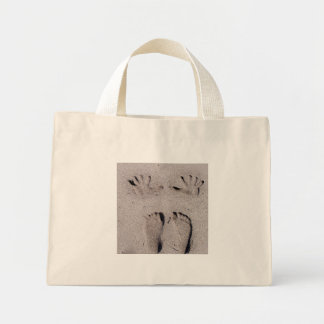 Hand and Feet prints in Florida beach sand Mini Tote Bag