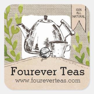 Hand blended teas pouring teapot shabby burlap square sticker