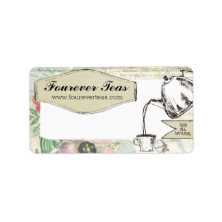 Hand blended teas pouring teapot shabby floral address label