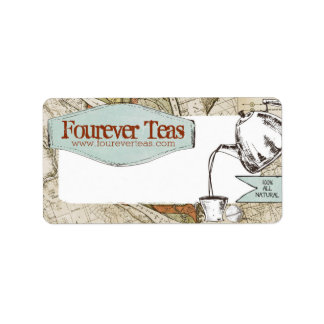 Hand blended teas pouring teapot shabby old map address label