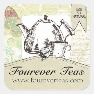 Hand blended teas vintage teapot shabby butterfly square sticker
