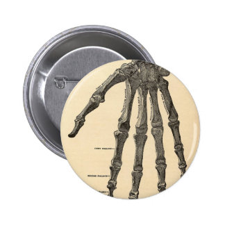 Hand bones 6 cm round badge