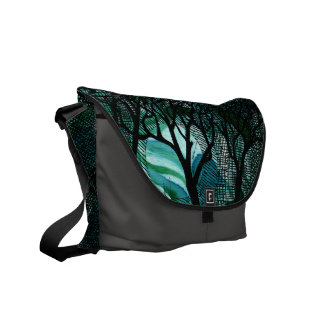 Hand Carved and Cross Hatched Trees on Green Commuter Bag