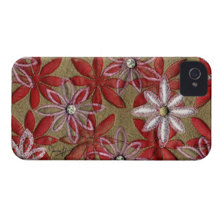 Hand Carved Quilted Red and Pink Flowers iPhone 4 Case-Mate Case