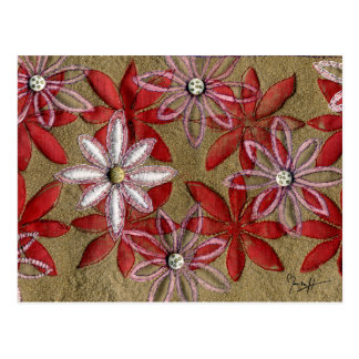 Hand Carved Quilted Red and Pink Flowers Postcard