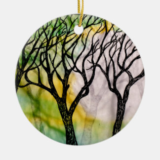 Hand Carved Trees on Rice Paper Christmas Ornament