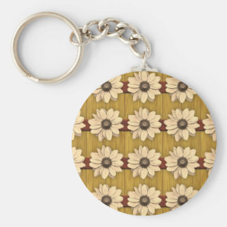 Hand Carved Wooden Daisies Basic Round Button Key Ring