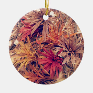 Hand carved wooden Forever flowers Round Ceramic Decoration