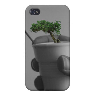 hand coffee with tree and hummingbird iPhone 4/4S case