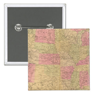 Hand colored lithographed map of the United States 15 Cm Square Badge