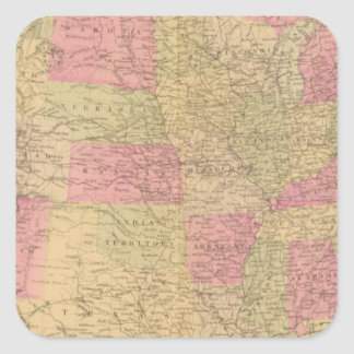 Hand colored lithographed map of the United States Square Sticker