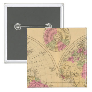 Hand colored lithographed map of the World 15 Cm Square Badge