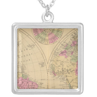 Hand colored lithographed map of the World Necklaces