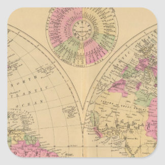Hand colored lithographed map of the World Square Sticker