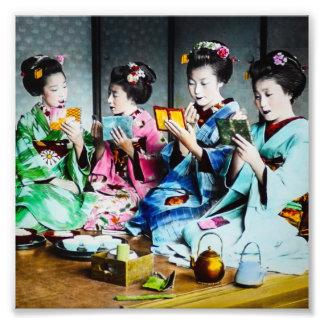 Hand Colored Vintage Geisha Gathering Photographic Print